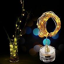 Strisce LED,AGPtek 3PCS 3m / 9.8 ft 30LED filo di rame stellato String luci impermeabile sommergibile per matrimonio natale decorazione floreale partito tè vaso a pile (Warm
