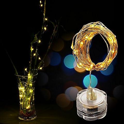 AGPtek 3PCS 3M / 9,8ft 30 LED Guirlandes Lumineuses Imperméable Chaîne Fée Lumière en fil de cuivre étoilé String lumières étanche Submersible pour fete Mariage décoration florale Party thé Vase piles (Blanc