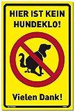 Schild Hier ist kein Hundeklo! gelb | stabiles Alu Schild mit UV-Schutz 20 x 30 cm | Hundehaufen, Hundetoilette | Dreifke®