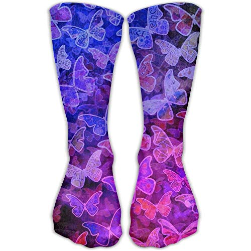 Performance Kompressions Socken (deyhfef Unisex Performance Crew Socken mit Schmetterlingsmuster, schützt das Handgelenk beim Radfahren, Feuchtigkeitskontrolle, elastisch, 30 cm)