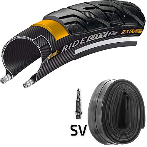 Continental Reifen Ride City E25 Draht 28x1,4 + Schlauch 37-622 schwarz Reflex -