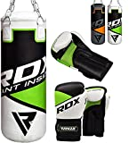 RDX Sac de Frappe Enfant Rempli Lourd Junior Punching Ball MMA Muay Thai Kickboxing Arts Martiaux Boxe Gants Chaine Suspension Punching Bag