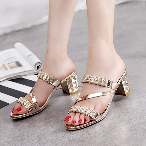ZYUSHIZ Weibliche Sandalen High-Heel synthetische Sommer kühl Hausschuhe 37EU