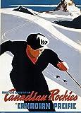 Vintage Travel Kanada für die Kanadischen Rocky Mountains und Winter Sports Poster 250gsm, Hochglanz, A3, vervielfältigtes Poster