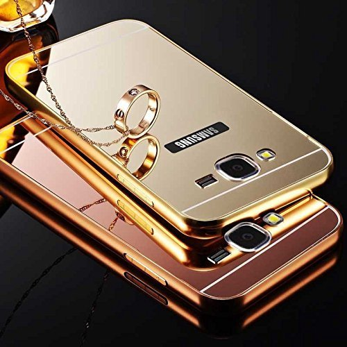 K/B Luxury Aluminium Bumper Plus Mirror Acrylic Back Cover For SAMSUNG J7 (6) NEW 2016 EDITION - GOLD