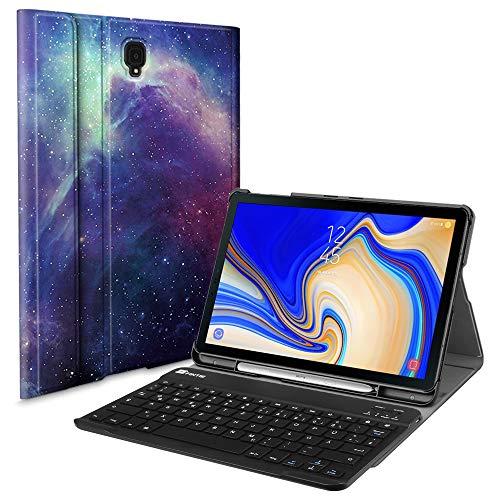 le für Samsung Galaxy Tab S4 T830 / T835 (10.5 Zoll) 2018 Tablet-PC - Ultradünn Schutzhülle mit magnetisch Abnehmbarer drahtloser Deutscher Bluetooth Tastatur, Die Galaxie ()