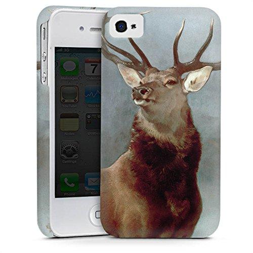 Apple iPhone 4 Housse Étui Silicone Coque Protection Cerf Forêt Nature Cas Premium mat