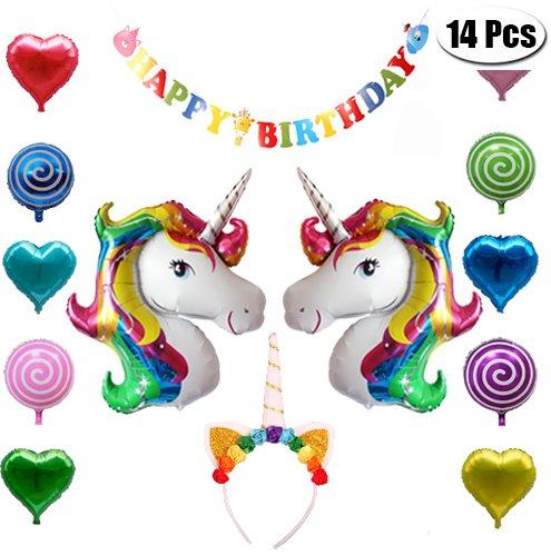 Birthday Party Luftballons Decor Set–2Pcs 81,3cm Einhorn + 6Herz + 4Lollipop Luftballons + 1Happy Birthday Banner + 1Einhorn Kopfband für Event Party Geburtstag Geschenk Decor (Lollipop Dekorationen)