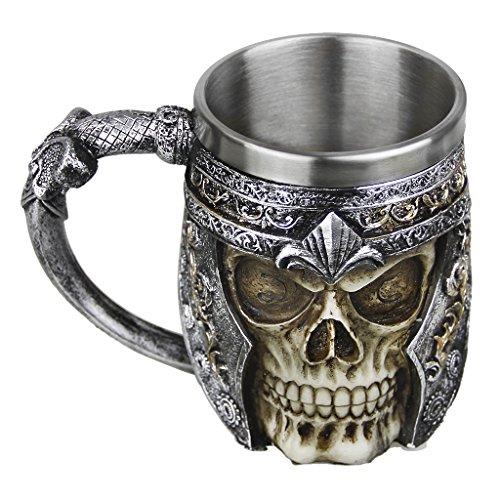 Mug Creative Coupe du Crâne 3D Tasse de Café en Résine Boire Tasse de Thé Chope Mug pour Maison/Bureau/Partie/Halloween Tasse à Café en Acier Inoxydable Résine de voyage Thé Vin Chopes à Bière