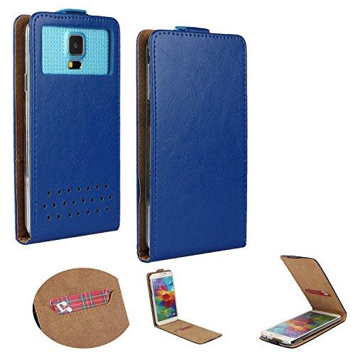 Handy Hülle für - Mobistel Cynus E4- Flip Tasche mit Kreditkartenfach - Flip Nano S Blau