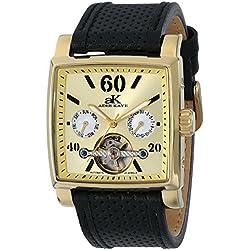 Adee Kaye Ak9043 Herren Automatikwerk Schwarz Leder Armband Datum Uhr ak9043-MG