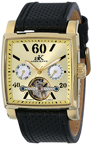Adee Kaye Unisex ak9043-MG Wall Street Analog Display Automatic Self Wind Black Watch