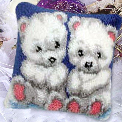 (12 Modell Latch Hook Kit Bear Cushion Cover DIY Craft Needlework Crocheting Cushion Embroidery BZ054)