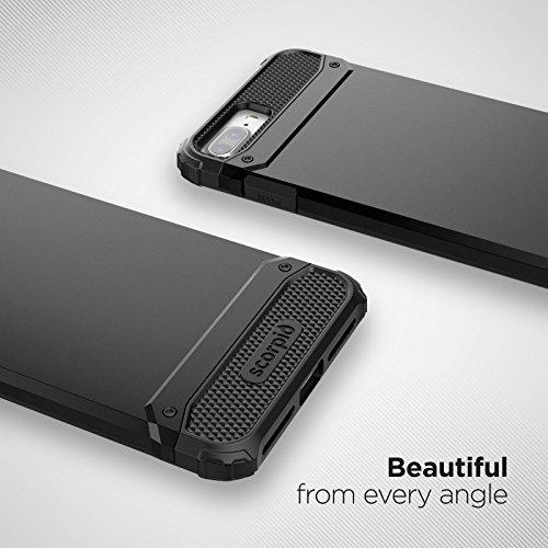 "iPhone 7 Plus (5.5"") Belt Clip Case, Premium Tough Protection w/ Holster - Scorpio R7 by Encased (Metallic Gray) Smooth Black"