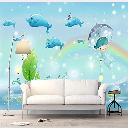 Meaosy Benutzerdefinierte 3D Wandbilder Cartoon Unterwasserwelt Tapeten Kinder Fototapeten Für Kinderzimmer Hintergrund Wände Papier Dolphin Rainbow-200X140cm Dolphin Papier