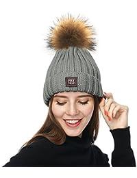 Amazon.es  gorros de lana con pompon de pelo - Gris   Accesorios ... 0edd02e239e