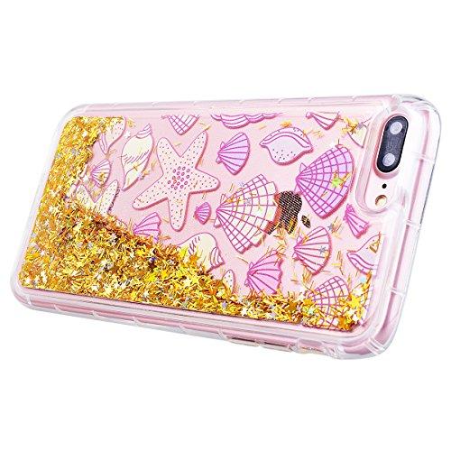 """WE LOVE CASE iPhone 7 Plus Hülle Schale Glitzern Transparent Flüssig Quicksand Diamant Liebe Stern iPhone 7 Plus 5,5"""" Hülle Fuchsie Schutzhülle Handyhülle Weich Silikon Handytasche Ultra Dünn Flexibel Gold"""