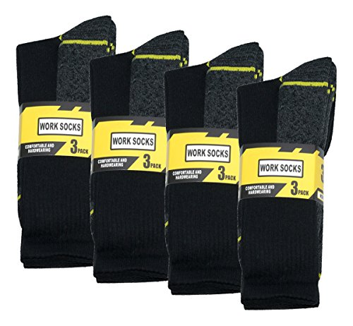 WORK SOCKS Men's Size 12-14 Thick Socks (12 Pair Multipack) Heavy Duty Reinforced Heel For Steel Toe Boots