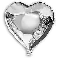Soul-cats® 1 St. anello stagnola Aerostato del cuore in giro rosso argento matrimonio palloncino palloncino decorazione, modello: ca.45cm cuore argento