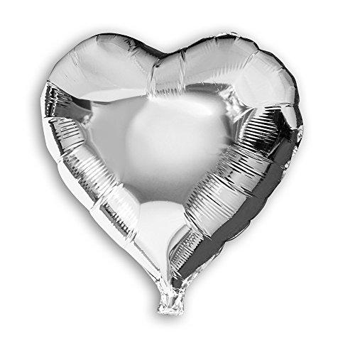 lienballon Herz Kreis rund rot silber Dekoration Ballon Luftballon Hochzeit , Modell:Herz silber ca.45cm;Auswahl:ohne Heliumfüllung ()