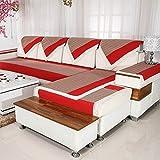 Lino Raya Sofá fundas,Antideslizante Impermeable Toalla de sofá cubierta completa todo incluido Fundas de toalla de sofá Protector de muebles Lanzar juegos de funda de cojín de la sala de estar-rojo 110x250cm(43x98inch)