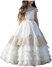 Vestito Elegante da Ragazza Festa Matrimonio Damigella Donna Sposa  Cerimonia Prima Comunione Battesimo Carnevale Ballerina Cocktail d84419a9071