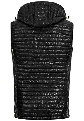 X-Land Herren Steppweste Salvador Stepp Outdoor Bodywarmer abnehmbare Kapuze black black print