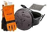 Petromax ft3 Feuertopf mit Füße Dutch Oven Set inkl. Deckelheber Handschuhe Ringreiniger