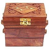 Caja de almacenamiento de usos múltiples de la caja de la diapositiva del compartimiento de la caja hecha a mano de madera 3, caja del pendiente, caja de la vendimia del almacenamiento