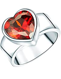 Argento Classico Love Collection Sterling Silber Ring in Herzform mit rotem Zirkonia