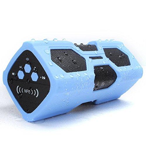 UBMSA Enceintes portables NFC Bluetooth 4.0,haut-parleur sans fil étanche, super bass résonance, technologie Bluetooth CSR 4.0Technology, idéal pour les activités en extérieur avec station de charge de 3600mAh.
