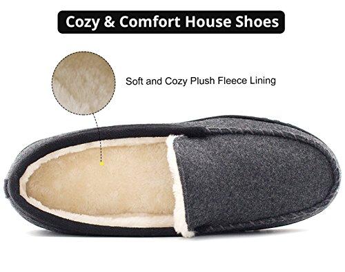 HomeTop Männer Mokassin Hausschuhe aus Wollen Plüsch und Microwildleder für Drinnen und Draussen Grau