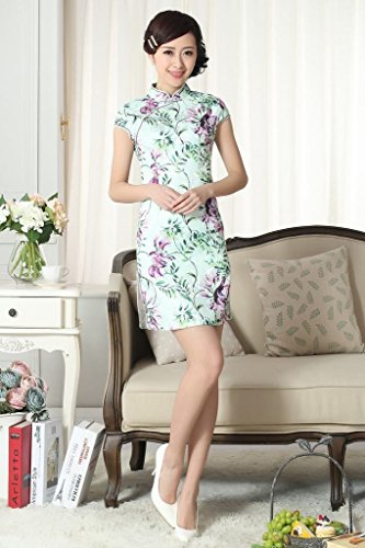 Bigood Robe Fendue Femme Sexy Cheongsam Court pour Mariage Soirée Style C Style C
