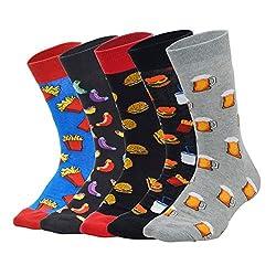 Sporzin Socken Damen Herren Hamburger Hotdog Bier Lustige Socken Unisex Bunte Baumwolle Kuschelsocken Sneaker Sportsocken 5 Paar