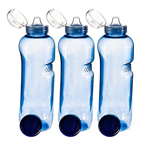 Trinkflasche 3 x 0,75 L Wasserflasche Tritan BPA frei + 3 x Trinkdeckel Flip Top - Copolyester-glas
