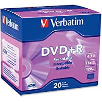 ‏‪Verbatim 16x DVD+R Media - 4.7GB - 120mm Standard - 20 Pack Slim Case‬‏