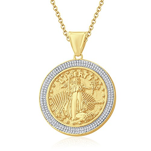 "Silvernshine 1.35 Ct Round D/VVS1 Diamond Liberty Coin Pendant 18"" Chain In 14K Yellow Gold Fn"