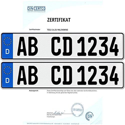 Preisvergleich Produktbild 2 x EU KFZ Nummernschilder Autoschilder Kennzeichen ALLE AUTOMARKEN mit individueller Prägung nach Ihren Vorgaben. BESTELLUNGEN DIE UNS VON AMAZON BIS 14:00 Uhr ÜBERMITTELT WERDEN VERSENDEN WIR AM GLEICHEN WERKTAG (Mo.-Fr.)