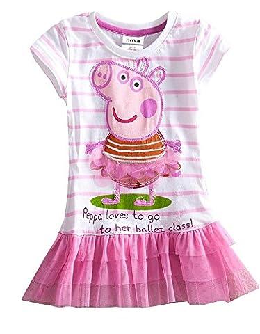 Mädchen Kleinkinder Peppa Pig kurze Ärmel Striped Tutu Kleid Rock T-shirt Gr. 110