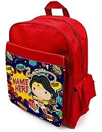 Personalised Kids Backpack Any Name Wonder Woman Girl Childrens School Bag