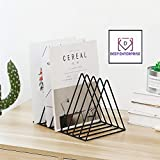 DEEP ENTERPRISE Triangle Iron Storage Rack Bookshelf, Nordic Vintage Style Geometry Desktop Newspapers Magazines File Home Living Room Office Decoration (Black/White/Gold-Large Size)