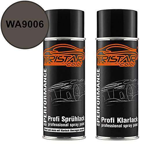 TRISTARcolor Autolack Spraydosen Set für Buick/Cadillac/Chevrolet/Corvette WA9006 Midnight Sand Gray Metallic Basislack Klarlack Sprühdose 400ml - Midnight Sand