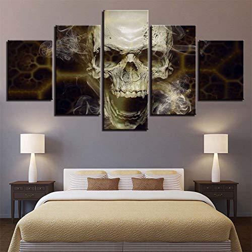 Loadfckcer Bilder Schädel Wandbild 5 Teilig Leinwand Bild Wandbilder Wohnzimmer Wohnung Deko Kunstdrucke,A,XL
