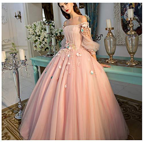 QAQBDBCKL Rosa Slash Kragen Laterne Hülse Karneval Ballkleid Medieval Kleid Renaissance Prinzessin Fee Kostüm Viktorianischen - Sexy Rosa Fee Kostüm