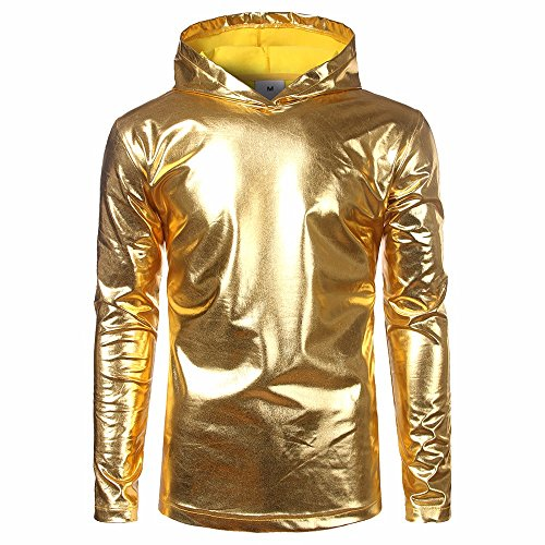 Beodole Felpa con Cappuccio da Uomo Giacca Top in Pelle Verniciata da Uomo Shiny Party Dance Disco Hip Hop Pullover (Oro, M)