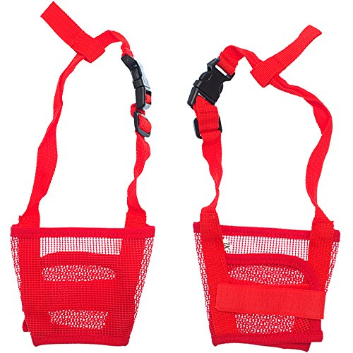 RayLineDo-Dog-Mouth-Muzzle-Breathable-Nylon-Mesh-Adjustable-Biting-Chewing-Prevention-Safety-Belt-Soft-Pet-Anti-Barking-Muzzles-for-Small-Medium-Large-Dogs-Size-XXL-In-Red