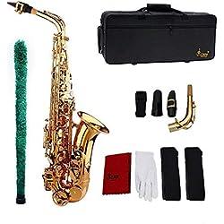 Saxophone Sax Eb Alto E Patron plat en laiton sculpté sur la surface Embout en plastique exquis avec des courroies de brosse de chiffon de nettoyage de gants