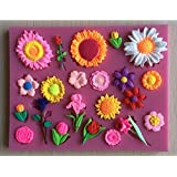 7horse Silicone Flower Roses Assorted 22-Cavity Mould Multi Cavity Resin Clay mod Melts, Multicolor