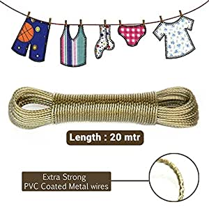 Hanumex® 20 Meter PVC Coated Steel Anti-Rust Wire Rope Washing Line Clothesline with 2 Plastic Hooks (Multi Color)