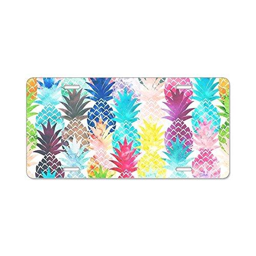 CafePress-Hawaiianische Ananas Muster-Aluminium Nummernschild, vorne Nummernschild, Vanity Tag
